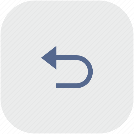 back, return, rounded, square icon