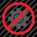 attention, cogwheel, forbidden, no, prohibited, sign, zone