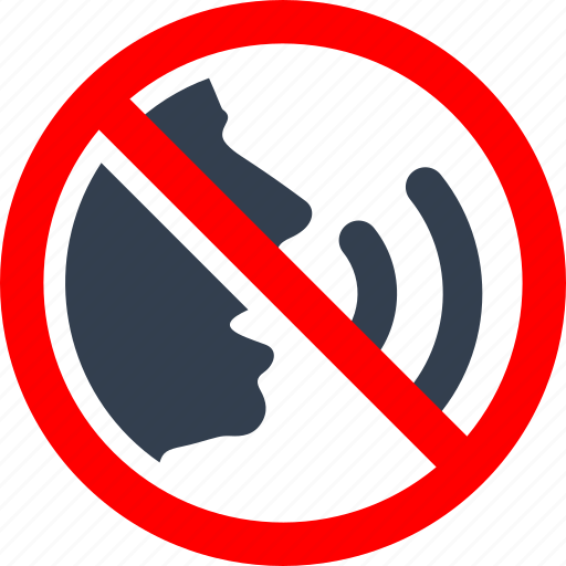 circle, danger, forbidden, information, library, no talking, please, prohibited, prohibition, quiet, red, stop, warning icon