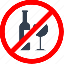 alchool, bottle, circle, danger, drink, forbidden, glass, information, no, prohibited, prohibition, red, stop, warning, wine icon