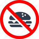 burger, circle, danger, eating, food, forbidden, information, no, prohibit, prohibited, prohibition, red, stop, warning icon
