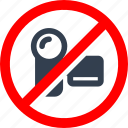 camcorder, circle, danger, filming, forbidden, information, no, prohibited, prohibition, red, stop, video, warning icon