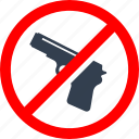 circle, danger, forbidden, gun, information, no, prohibited, prohibition, red, stop, warning, weapon icon