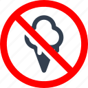 circle, danger, food, forbidden, ice cream, information, prohibited, prohibition, red, stop, sweet, warning icon