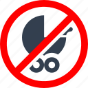 child, circle, danger, forbidden, information, prohibited, prohibition, red, safety, stop, stroller, warning icon