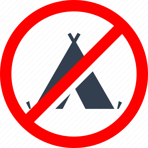 camp, circle, danger, denied, forbidden, information, no camping, prohibited, prohibition, red, stop, tent, warning icon