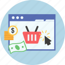 basket, currancy, dollar, ecommerce, marketing, online shopping, web page icon