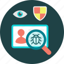bug, eye, maghnifier, security icon, user, virus, virus search icon