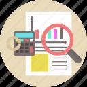calculator, concept, document, guardar, paper, pen, save icon icon