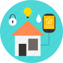 building, energy, networks, remote, security, smart home icon, technology icon