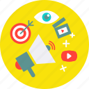 bulhorn, marketing icon, spaker, target, tube, video, view icon