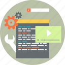 application, coading, sedding, software & apps icon, video icon