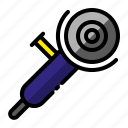 construction, grinder, project, spin grinder icon