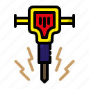 construction, jack hammer, mechanical hammer, project icon