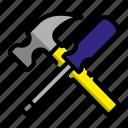 construction, construction equipment, hammer, project, screwdriver