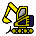 construction, digger, excavating, excavator, hoe icon
