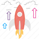 business startup, rocket, rocket launch, spacecraft, startup launch icon
