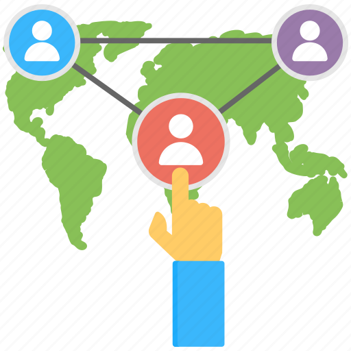 geographically dispersed team, global business, online workers, remote team, virtual team icon