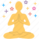 consideration, meditation, mental concentration, relaxing, yoga icon