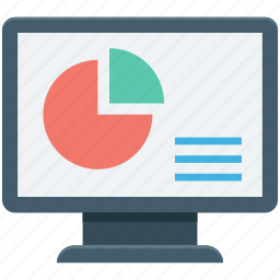analytics, infographic, monitor, online graph, pie chart icon