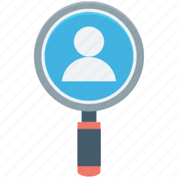employee search, find person, magnifier, search man, user icon