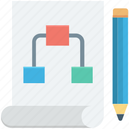 pencil, project plan, scheme, strategy, workflow icon