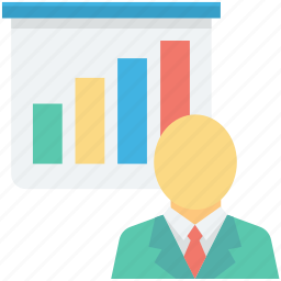 bar chart, businessman, economist, graph presentation, presentation icon