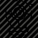 aim, bulb, concept, idea, target icon