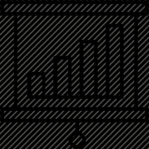 business graph, graph, presentation, seminar, statistics board icon