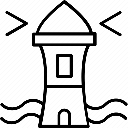 Light House, Light Tower, Sea, Sea Tower, Tower House Icon