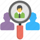 hiring, looking for, magnifying glass, person, recruitment icon