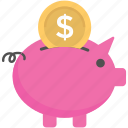 insurance concept, piggy bank, piggy coins, piggy money box, saving icon