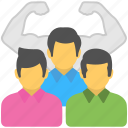 team energy, team management, team performance, team power, team strength icon