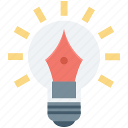 artwork, bulb, creativity, idea, pen icon