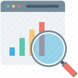 graph, magnifier, search analytics, search graph, website icon