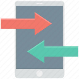 arrows, data share, data transfer, interface, mobile icon