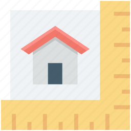 area calculation, home, house measurement, scale, square ruler icon