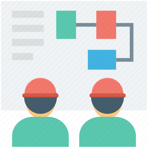 employees, management, meeting, project, project plan icon