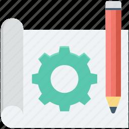 blueprint, cog, drafting, drawing, pencil icon