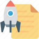 document, planning, rocket, startup, startup planning icon