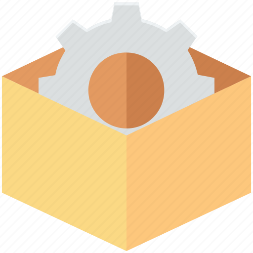 box, cog, gear, package, tools icon