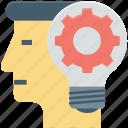 brainstorming, bulb, cog, human head, idea in mind, thinking