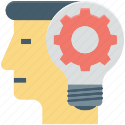 brainstorming, bulb, cog, human head, idea in mind, thinking icon