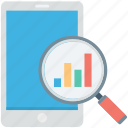 analytics, infographic, magnifier, mobile graph, search graph icon