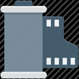 camera reel, film cartridge, film reel, movie reel, reel box icon
