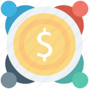 business meeting, businessmen, dollar, investors, people icon