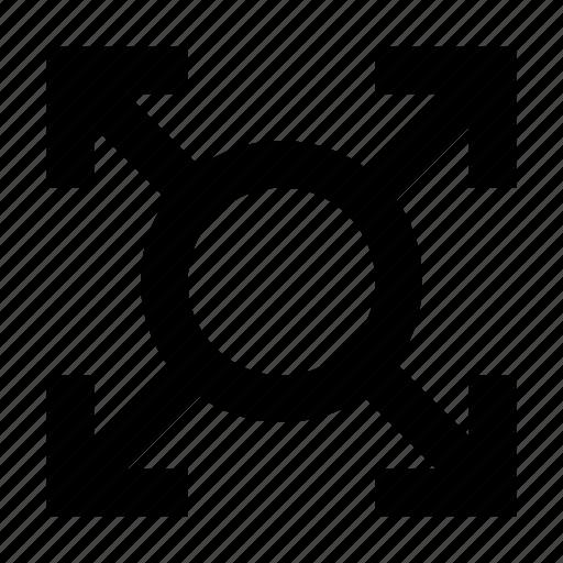arrows, assembly point, fullscreen arrows, meeting point, move arrow icon