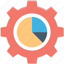 analytics, cog, gear, pie chart, pie graph icon