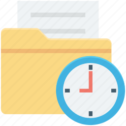 clock, file folder, folder, schedule, timetable icon