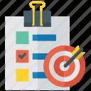 business target, deadline, goal, objective, target, target list